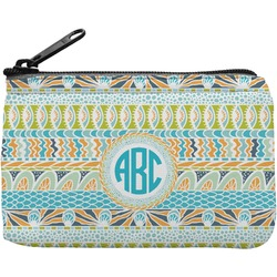 Abstract Teal Stripes Rectangular Coin Purse (Personalized)