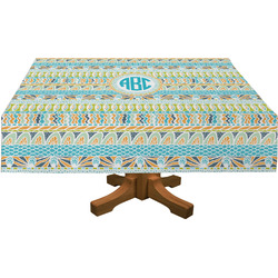 Abstract Teal Stripes Rectangle Tablecloth (Personalized)