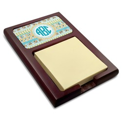 Abstract Teal Stripes Red Mahogany Sticky Note Holder (Personalized)