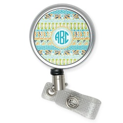 Abstract Teal Stripes Retractable Badge Reel (Personalized)