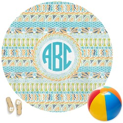 Abstract Teal Stripes Round Beach Towel (Personalized)