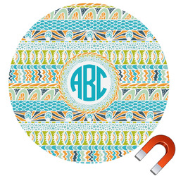 Abstract Teal Stripes Round Car Magnet (Personalized)
