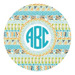 Abstract Teal Stripes Round Decal - Small (Personalized)
