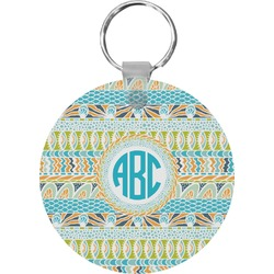 Abstract Teal Stripes Round Keychain (Personalized)