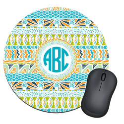Abstract Teal Stripes Round Mouse Pad (Personalized)