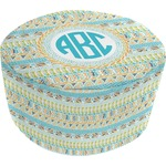 Abstract Teal Stripes Round Pouf Ottoman (Personalized)