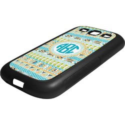 Abstract Teal Stripes Rubber Samsung Galaxy 3 Phone Case (Personalized)