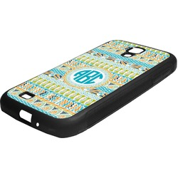Abstract Teal Stripes Rubber Samsung Galaxy 4 Phone Case (Personalized)