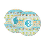 Abstract Teal Stripes Sandstone Car Coasters (Personalized)
