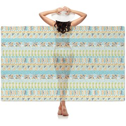 Abstract Teal Stripes Sheer Sarong (Personalized)