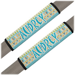 Abstract Teal Stripes Seat Belt Covers (Set of 2) (Personalized)