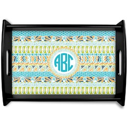 Abstract Teal Stripes Black Wooden Tray (Personalized)