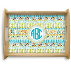 Abstract Teal Stripes Natural Wooden Tray - Large (Personalized)