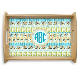 Abstract Teal Stripes Natural Wooden Tray (Personalized)