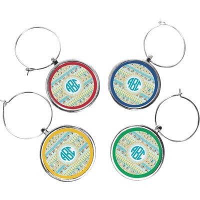 Abstract Teal Stripes Wine Charms (Set of 4) (Personalized)