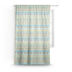 Abstract Teal Stripes Sheer Curtains (Personalized)