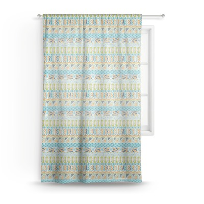 """Abstract Teal Stripes Sheer Curtain - 50""""x84"""" (Personalized)"""