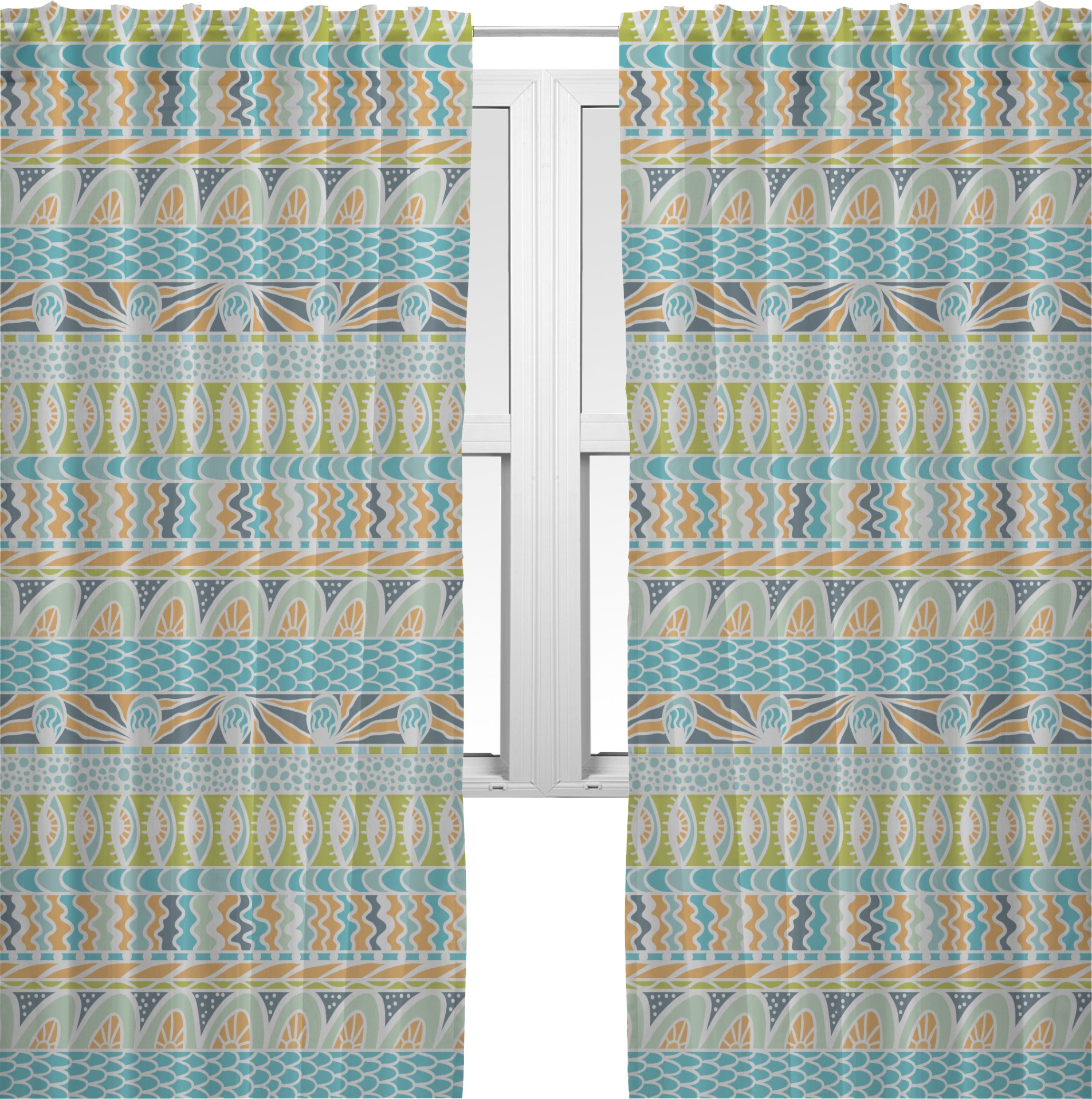 abstract teal stripes window sheer scarf valance