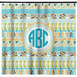 Abstract Teal Stripes Shower Curtain (Personalized)