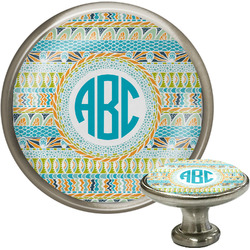 Abstract Teal Stripes Cabinet Knobs (Personalized)