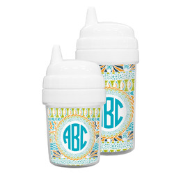 Abstract Teal Stripes Sippy Cup (Personalized)