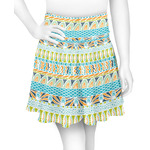 Abstract Teal Stripes Skater Skirt (Personalized)