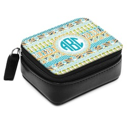 Abstract Teal Stripes Small Leatherette Travel Pill Case (Personalized)