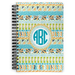Abstract Teal Stripes Spiral Bound Notebook (Personalized)
