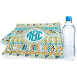Abstract Teal Stripes Sports & Fitness Towel (Personalized)