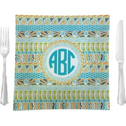 Abstract Teal Stripes Square Dinner Plate (Personalized)