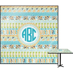 Abstract Teal Stripes Square Table Top (Personalized)