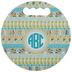 Abstract Teal Stripes Stadium Cushion (Round) (Personalized)