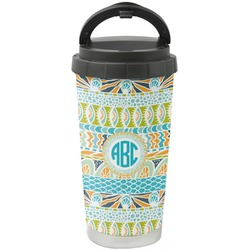 Abstract Teal Stripes Stainless Steel Coffee Tumbler (Personalized)
