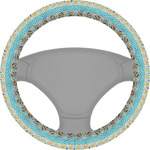 Abstract Teal Stripes Steering Wheel Cover (Personalized)