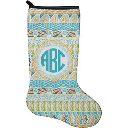 Abstract Teal Stripes Christmas Stocking - Neoprene (Personalized)