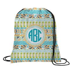 Abstract Teal Stripes Drawstring Backpack (Personalized)