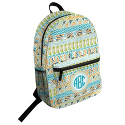 Abstract Teal Stripes Student Backpack (Personalized)