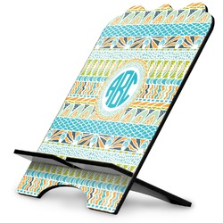 Abstract Teal Stripes Stylized Tablet Stand (Personalized)