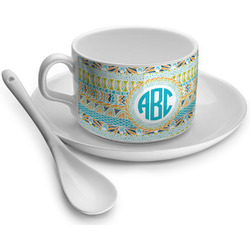 Abstract Teal Stripes Tea Cup (Personalized)