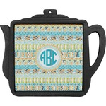 Abstract Teal Stripes Teapot Trivet (Personalized)