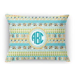 Abstract Teal Stripes Rectangular Throw Pillow Case (Personalized)