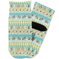 Abstract Teal Stripes Toddler Ankle Socks (Personalized)