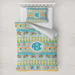 Abstract Teal Stripes Toddler Bedding w/ Monogram