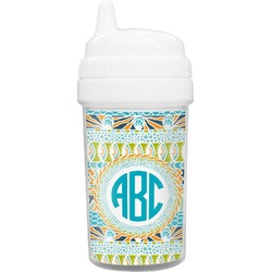 Abstract Teal Stripes Toddler Sippy Cup (Personalized)