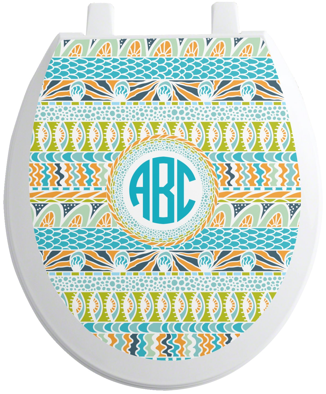 Abstract Teal Stripes Toilet Seat Decal Personalized