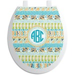 Abstract Teal Stripes Toilet Seat Decal (Personalized)