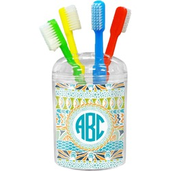 Abstract Teal Stripes Toothbrush Holder (Personalized)