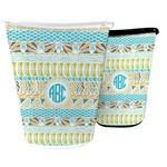 Abstract Teal Stripes Waste Basket (Personalized)