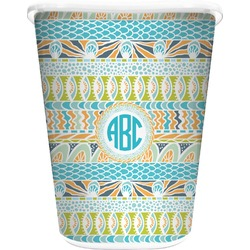 Abstract Teal Stripes Waste Basket - Double Sided (White) (Personalized)
