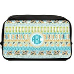 Abstract Teal Stripes Toiletry Bag / Dopp Kit (Personalized)